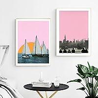 壁アートピンクスタイルの夕日とヨットのポスター都市の装飾的な写真リビングルームの家の装飾のための現代絵画(75x100cm)X2フレームレス