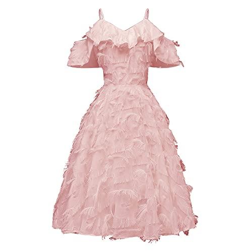 Robe femme élégante robe femme robe femme robe festive femmes bretelles volants sexy robe de soirée demoiselle d'honneur bal bal bal robe vintage robe, Rose, XXL