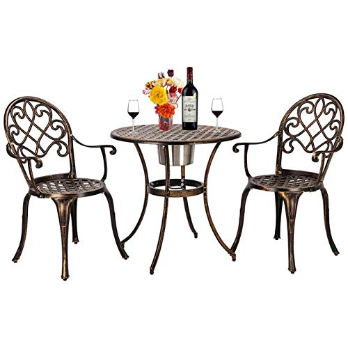 WZRY 3 Piece Bistro Set with Ice Bucket Bronze - 5L, Antique Outdoor Patio Furniture Weather Resistant Garden Aluminum Table and 2 Chairs for Backyard Pool Garden, Outdoor Patio Conversation Set