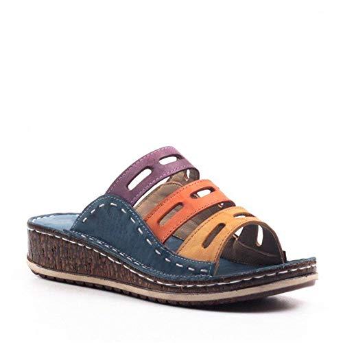 DOTBUY Sandali Tricolore Zeppa Estivi Donna, Comfy Piattaforma Sandalo della Spiaggia di Viaggio Scarpe di Moda Sandali Plateau Donna Comode Scarpe (CN42=265mm,Blu Scuro)