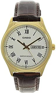 Casio Men Brown Dial Leather Band Casual Watch - MTP-V006GL-7BUDF