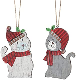 The Bridge Collection Primitive Wooden Cat Ornament Set, 2 Assorted