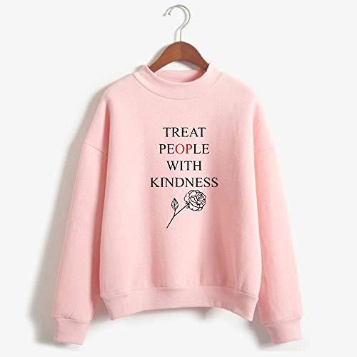 Whittie Harry Style T-Shirt mit hohem Kragen Unisex Sport Long Sleeve Sweatshirt,Pink,S