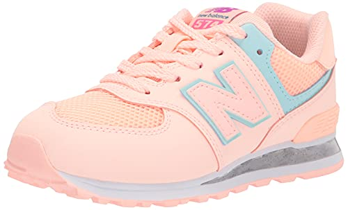 New Balance girls 574 Translucent V1 Sneaker, Cloud Pink/White Mint, 2 Little Kid US