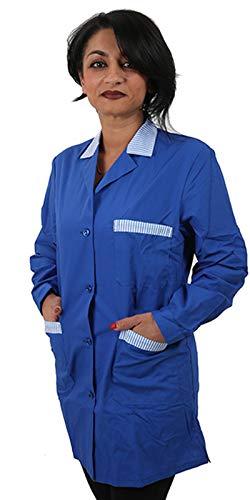 Petersabitidalavoro Camice MAESTRA Asilo Casacca da Lavoro Donna Corto Blu Manica Lunga Made in Italy (l)