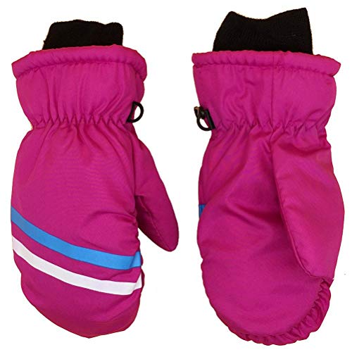 Childrens Ski Mittens, Warm Velvet Lining Mittens Winter Warm Keeping Gloves Outdoor Triple Waterproof Gloves for Girls Boys Skiing/Cycling - Anti-lost Cufflinks | Easy to Wear and Maintain (1 Pair)