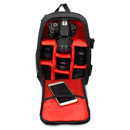 Gesh Upgrade Waterproof multi-functional Digital DSLR Camera Video Bag with Rain Cover SLR Camera Bag PE Padded for Photographer(Red,small)