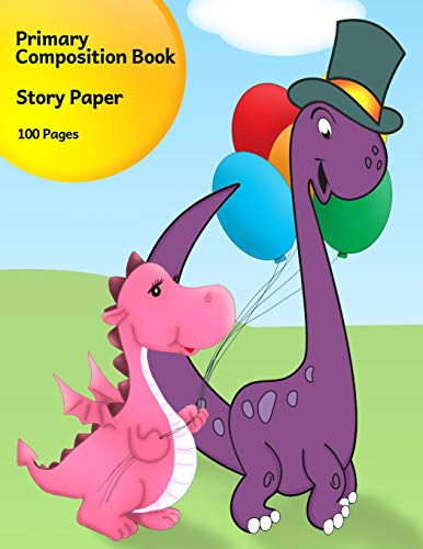 Primary Composition Book: Story Paper Journal for K-3 (Pink & Purple Dinosaurs with Balloons, Space on Top for Drawing & Dotted Midlines Below, 8.5x11 Inches, 100 Pages)