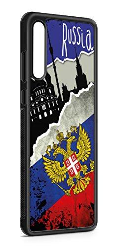 Kompatibel mit Samsung Galaxy A51 Silikon Hülle Handyhülle Flexibles Slim Case Cover Russland Fahne Flagge Schwarz