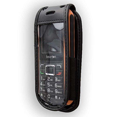 caseroxx Hülle Ledertasche mit Gürtelclip für Bea-fon AL550 aus Echtleder, Tasche mit Gürtelclip & Sichtfenster in schwarz