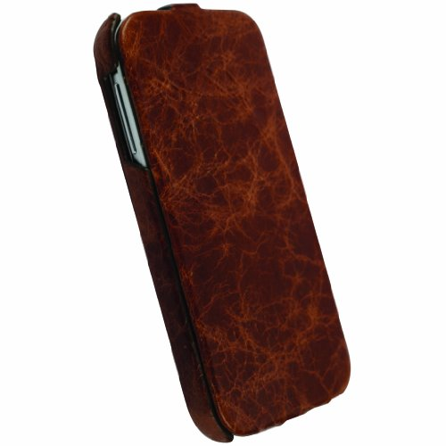 Krusell 75575 Tumba SlimCover Premium Leather Flip Case for Samsung Galaxy S4 - 1 Pack - Retail Packaging - Vintage Brown