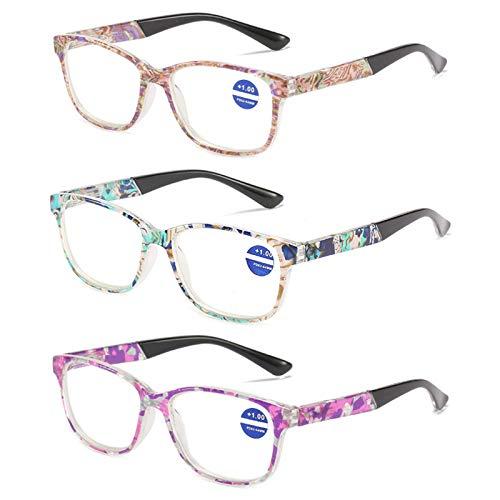 Gafas De Lectura, Marco De Flores HD Gafas Luz Azul Antirreflejos UV para Los Ojos Bisagra Comfort Spring Gafas para Ordenador para Hombres Mujeres Unisexo,D,+ 2.00 X