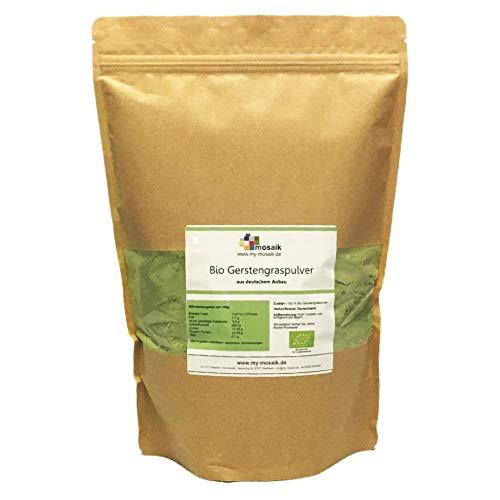 my-mosaik Bio Gerstengras Pulver | 100% rein aus Deutschland | ohne Zusatzstoffe | Rohkostqualität | Vitamine, Mineralstoffe & Spurenelemente (1000g)