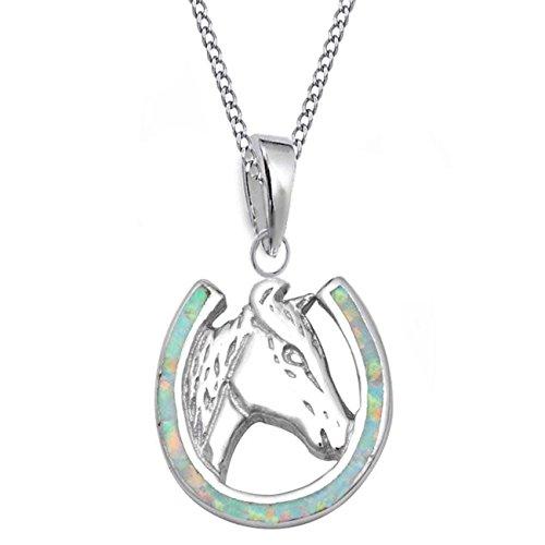GH* Opal Hufeisen mit Pferdekopf ANHÄNGER + HALSKETTE 925 Echt Silber Mädchen Damen Pferde CH25 (38)