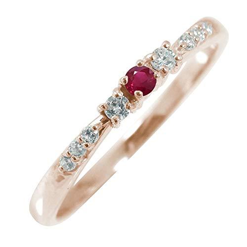アルマ リング 18金ピンクゴールド ルビー 誕生石 レディース ダイヤモンド 指輪 6.5号 【180717w20】