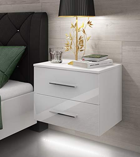 TOP SHOP LED Lowboard Hängeboard Nachttisch Nachtkommode Hochglanz Nachtschrank Weiß Beleuchtung KOMMODE (Weiß+GEFÜHL)