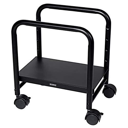 EUREKA ERGONOMIC Computer Cart Height Adjustable Mobile Cart CPU Stand Steel Rolling Stand Cart Holder Locking Wheels for Home Desk Office Desk Black