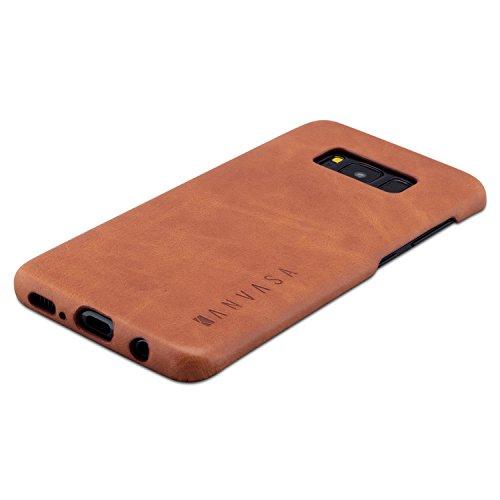 KANVASA Funda Galaxy S8 Marrón - Carcasa One para Samsung Galaxy S8 (5.8') - Estilosa Funda Hecha de Auténtica Piel de Cuero - Protección Óptima y Piel de Calidad - Ultrafina