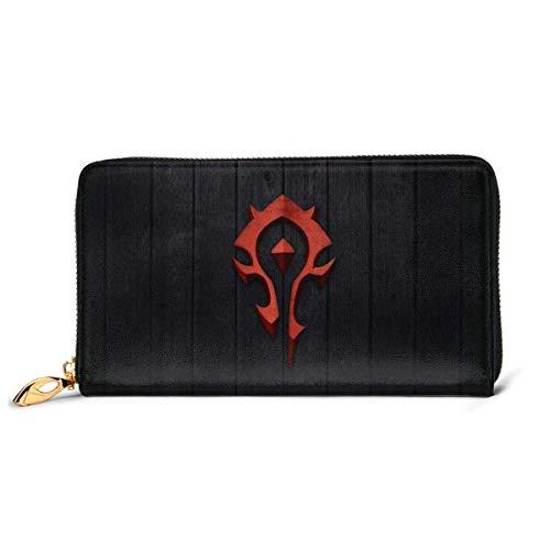 AOOEDM RFID Wallet World Warcraft Horde Cartera de Cuero Genuino Zip Alrededor Titular de la Tarjeta Organizador Cartera de Embrague Monedero de Gran Capacidad Bolsa de teléfono para Hombres Mujeres