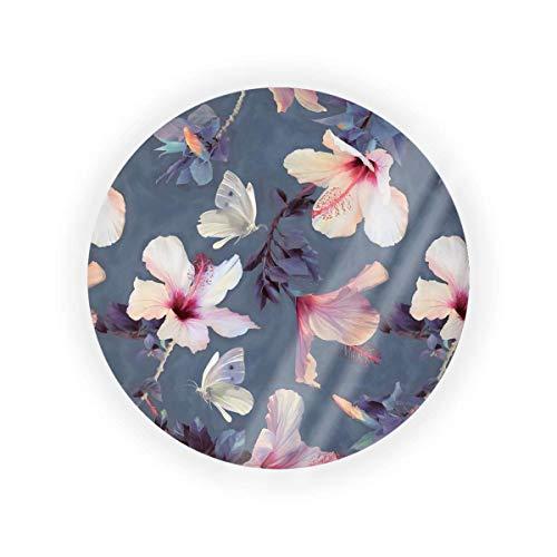 Caja de cojín con diseño de mariposas y flores de hibisco pintadas, para maquillaje de BB CC, líquido para base