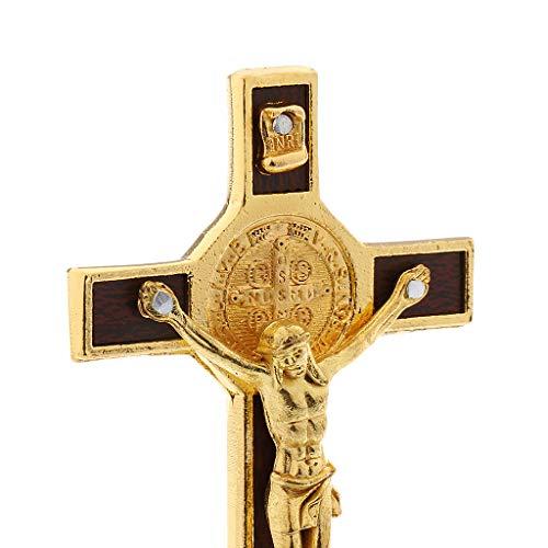 Baoblaze 2 Stücke Wandkreuz Kruzifix mit Jesus Christus Figur auf Kreuz ,aus Metall