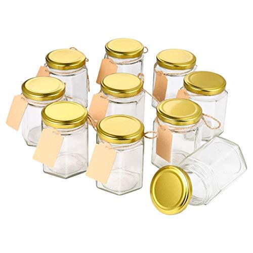 Hemoton Marmeladengläser, 180ml Sechseckgläser Einmachglas Marmeladengläser mit Goldenen Deckeln Und Etiketten, für Heimküche DIY Party Hochzeitsbevorzugungen, 10 Stück, 6oz
