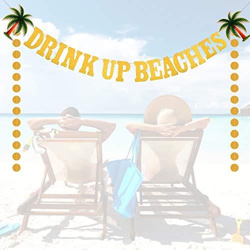 CHALA 2TLG DRINK UP BEACHES Banner Set Hawaii Luau Deko Aloha Girlande Karibik Garten Dekoration Sommer Party Supplies für Tiki Party Bar BBQ Tropischen Garten Strand Sommer Geburtstag Dekoration