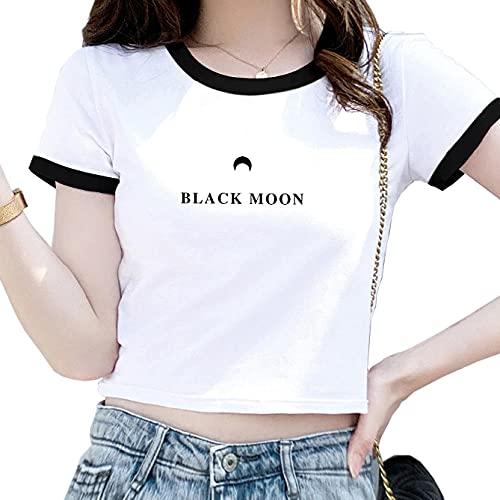 Cuello Redondo Camiseta Ombligo Mujer Manga Corta Crop Camiseta con Blanco Letras Camiseta Cropped Mujer L