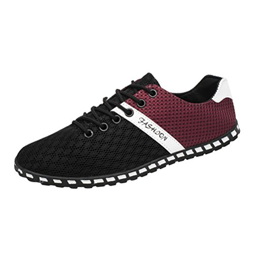 Sneaker Herren Casual Low-Top Schnüren Outdoor Mesh Bequeme Atmungsaktive Sneakers Flache Schuhe Freizeitschuhe Bootsschuhe Leichte Schuhe (45, Schwarz)