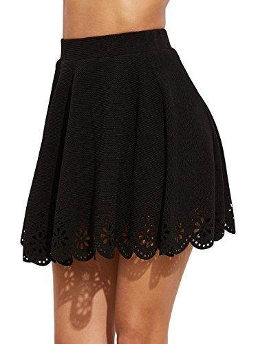 DIDK Femme Jupe Courte Granité en Dentelle Style Mignon Taille Haute Été Mini Jupe Noir M