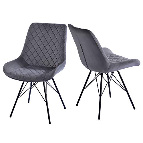 2er Set Esszimmerstühle Küchenstuhl Polsterstuhl Wohnzimmerstuhl Metallbeine, Grau