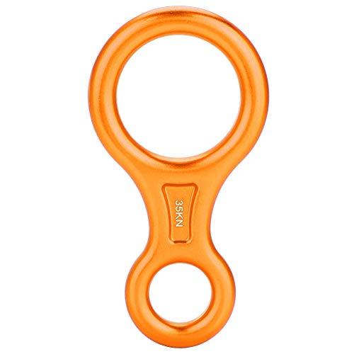 Alomejor Escalada Rappel Safety 35KN Montañismo Escalada Figura 8 Cuerda Descensor Anillo(Naranja)