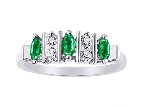 Juego de anillos de plata de ley 925 con esmeralda y diamante de Marquise