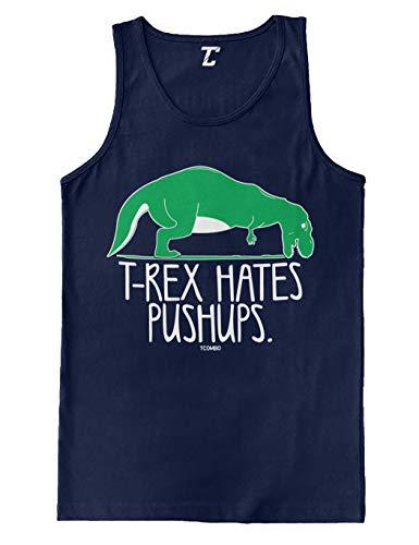 T-Rex Hates Pushups - Funny Gym Workout Men's Tank Top (Navy, Medium)
