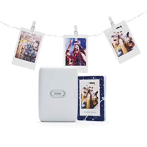 instax Link Smartphone Printer Bundle with Pegs and Led Lights Plus Photo Album, Ash White ,70100144612