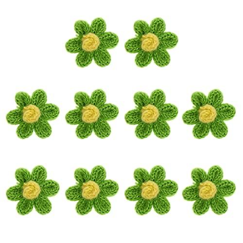 VORCOOL 10 Piezas Parches Bordados con Apliques de Flores Hechos a Mano Crochet Flores Adornos Apliques para Manualidades Guirnalda de Flores Ropa Diademas Sombreros