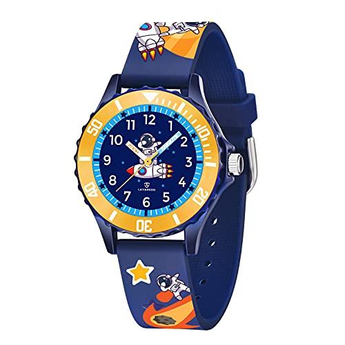 A ALPS Lernuhr Kinderuhr Jungen Analog Quartz Uhr Wasserdicht Leicht Zu Lesen Armbanduhr mit Silikon Armband,Kids Geschenk Blau