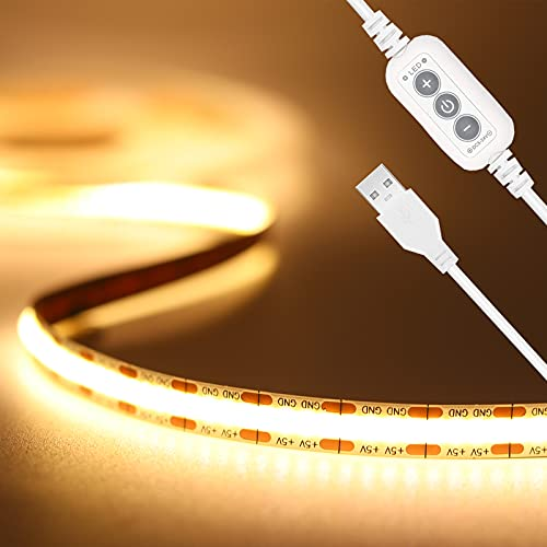 USB 5V LED Streifen Warmweiss 2M,PAUTIX 640LEDs Dimmbar COB LED Strip Lights CRI85+ 3000K TV Hintergrundbeleuchtung,Flexibel Unterbodenleuchte für Küche,Schlafzimmer,Zuhause DIY Beleuchtung