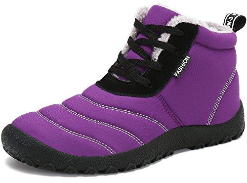 SAGUARO® Herren Damen Winterschuhe Warm Gefüttert Winter Stiefel Kurz Schnür Boots Schneestiefel Outdoor Freizeit Schuhe,Violett 40