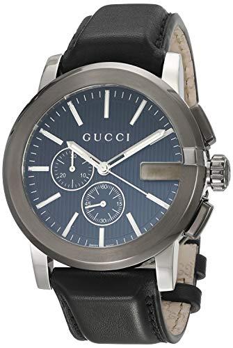 Gucci G-Chrono Esfera Negra Cuero Reloj para Hombre YA101205 Negro