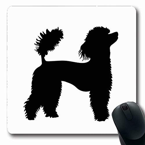 Muismatten voor computers langwerpige vorm hond Franse poedel Wildlife Show zwart blazer karakter ontwerp antislip langwerpige gaming muismat