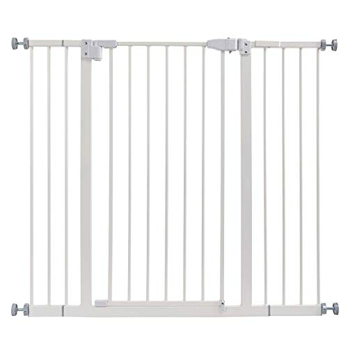 """42"""" Auto Close Baby Gate, Extra Tall Walk Thru Safety Gate Dog Pet Pressure Mount Gate for Stairs,Doorways, Banister,Dual Locking.Includes 4"""" & 6"""" Extension,36"""" High"""