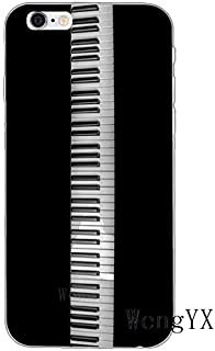 White Black Piano Pattern Galaxy S7 Edge Case Grey Music Theme I Phone Cover Musical Orchestra Classic Italy Keyboards Italian Organ Instrument Cellphone Protector, Plastic