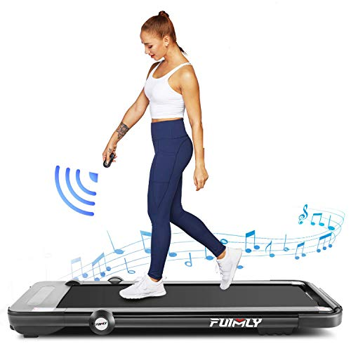 Folding Treadmill, 2-in-1 Under-Desk Treadmill for Home, Office, Gym. Compact Jogging/Running Machine with Remote Control, Bluetooth Speaker and LED Display,No Assembly Needed (Black)