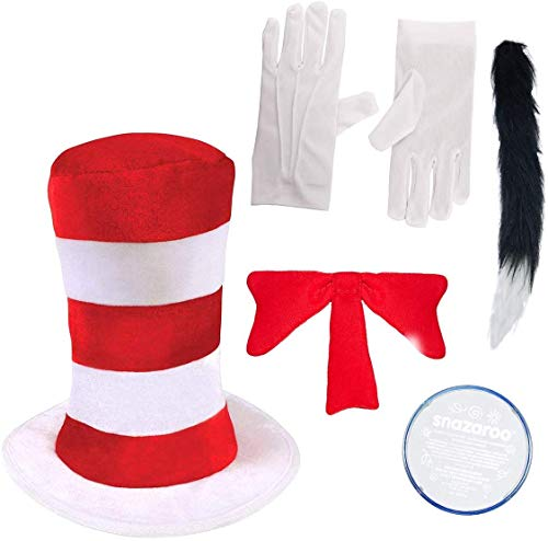 Child 3 pc CAT IN THE HAT SET World Book Day Week Crazy Cat Fancy Dress costume by Paper Umbrella Facny Dress