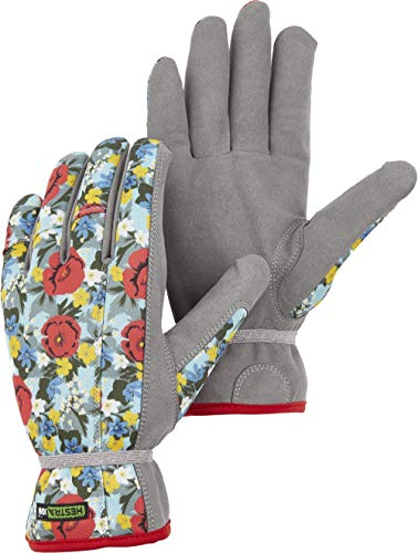 Hestra Garden Robin Durable Adult Work and Gardening Gloves for Men/Women   Washable Synthetic Suede Gloves for Everyday Gardening, Yard Work, and Tool Use - Red Print - 7