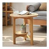 LICHUAN Mesa de centro de madera natural, mesa auxiliar redonda, mesa auxiliar con estante de 2 niveles, mesita de noche pequeña para sala de estar, dormitorio, balcón, mesa auxiliar familiar