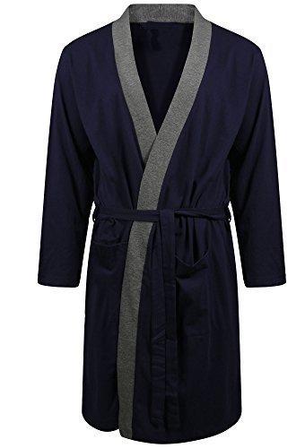 Hombre Bata LIGHWEIGHT De Algodón Suéter Verano - Azul con contrato borde, Medium
