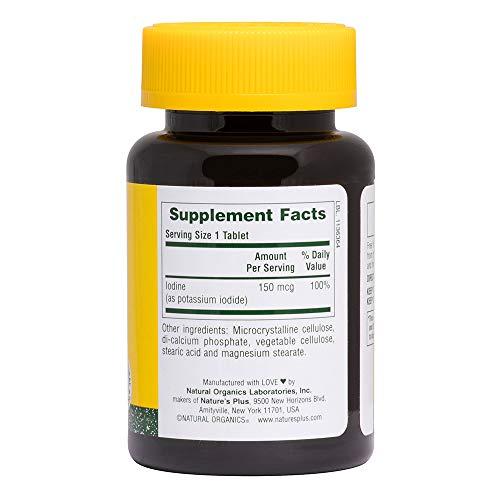 NaturesPlus Potassium Iodide - 150 mcg, 100 Vegan Tablets - Thyroid Support Supplement, Supports Respiratory Health - Vegetarian, Gluten Free - 100 Servings