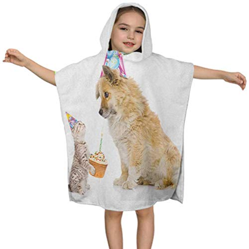 Kids Birthday Kids Hooded Beach Bath Towel, Cat and Dog Domestic Animals Human Best Friend Party with Cupcake and Candle, W24 x L24 Inches Hooded Bath Towel for Girls Boys, Children's Bathrobe